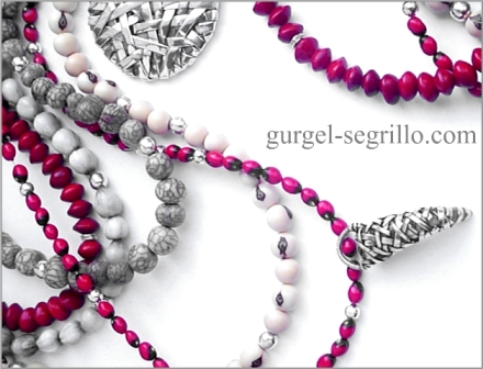 wearable art jewelry by artist patricia gurgel segrillo: woven series pendants, in pure silver and brazilian seeds