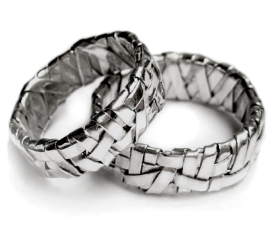 contemporary jewellery handcrafted in fine silver, partnership bands created by Patricia Gurgel Segrillo