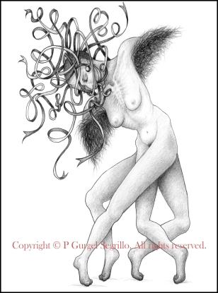 Original pencil on paper drawing created by Brazilian-Irish visual artist P Gurgel-Segrillo: figurative explorations on cross-cultural identity and womanhood, empowerment and femininity.