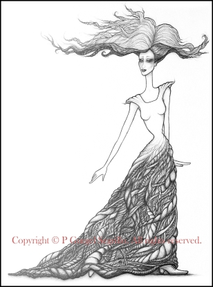 Original drawings created by Brazilian-Irish visual artist P Gurgel-Segrillo: figurative explorations on cross-cultural identity and womanhood, empowerment and the feminine.