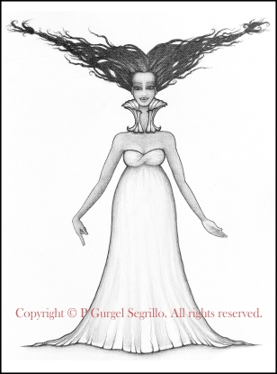 Original black and white drawings created by Brazilian-Irish visual artist P Gurgel-Segrillo: figurative explorations on cross-cultural identity and womanhood, empowerment and femininity.